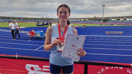 North Somerset AC's Ruby D with her bronze medal at the English Schools' Championships