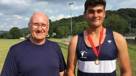 North Somerset AC's George L, who won shot put gold at the English Schools' Championships, with coach Bruce