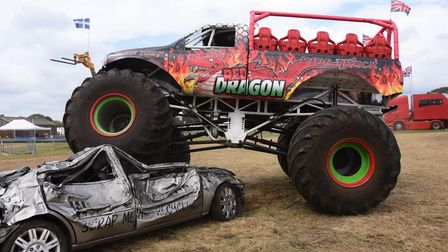 The Red Dragon Monster Truck in action at the Festival of Wheels, Ipswich. Picture: DENISE BRADLEY