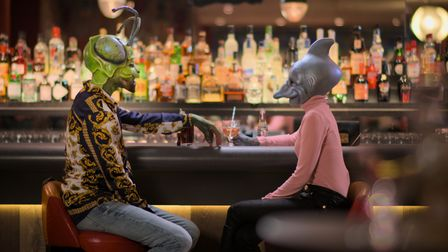 Dominic as Mantis and Nina as Dolphin on a datein Netflix show Sexy Beasts.