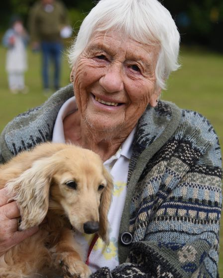 Barbara Black with 14-year-old Hattie, at the sausage dogs picnic at Christchurch Park. Picture: DEN