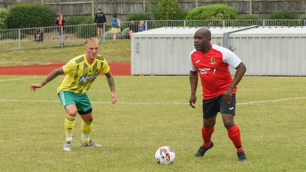 Adrian Forbes in action during The NCFC legends v NHS staff match taking place in memory of Mike Sut