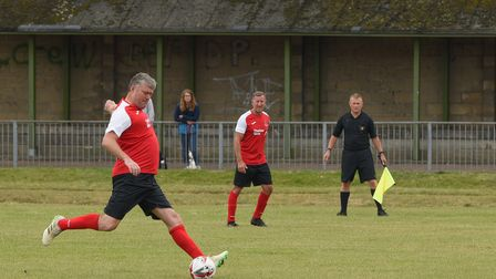 Rob Newman and Paul Gibbs were also on the NCFC legends side. Picture: Danielle Booden