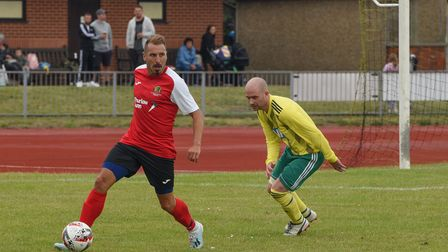 Darren Huckerby in action for the NCFC legends team. Picture: Danielle Booden