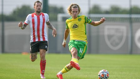 Todd Cantwell in action for Norwich City in the midweek friendly against Lincoln City