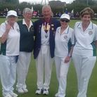 Potters Bar's team of Diane Berry, Pam Rodgers, Anita Bowman and Diane Jewell with county president Terry Barker