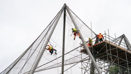 Experts abseil down the Grade II listed Snowdon Aviary at ZSL London Zoo in Regent's Park, London, t