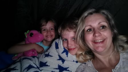 Louisa Nevard and her children camped in the back garden.