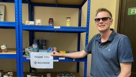 Royston Evangelical Church pastor Jonathan Scott thanked Redrow for their donation to the foodbank