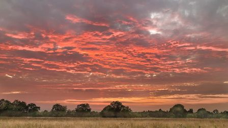 Peter Turner took this photograph of the sun setting at the Millstream at Offord.