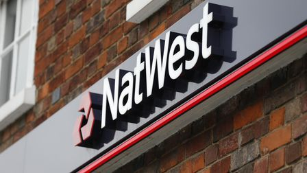 A National Westminster Bank branch (NatWest) logo in Beaconsfield, Buckinghamshire.