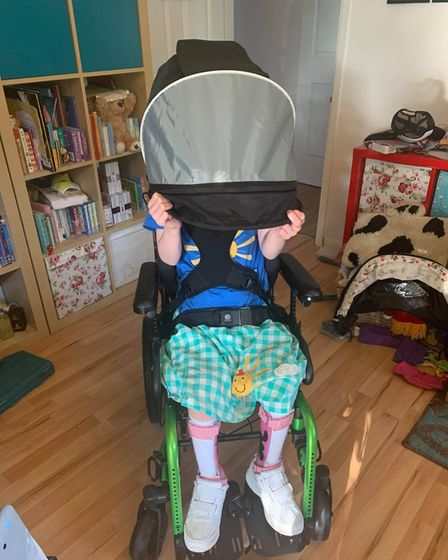 Hide and seek! Kind members of the public donated to Ellamae Coy's new wheelchair.