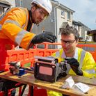 Anthony Mangnall during his visit to localOpenreach engineers.