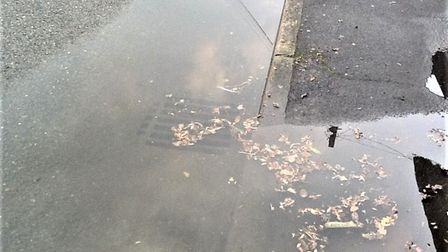 Flooding in Buckden has meant a blocked drain has overflowed.