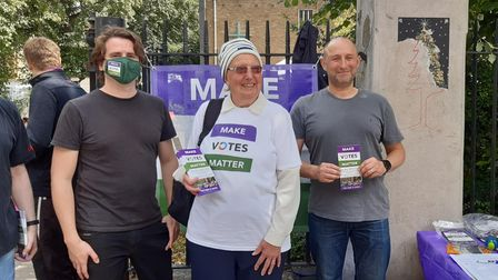 Campaigners from Make Votes Matter