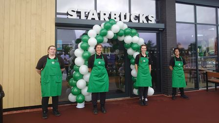 Staff at the opening of the new Starbucks in Sproughton Road, Ipswich