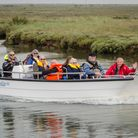 A V20 boat being demonstrated by The Wheelyboat Trust in 2019, ahead of Poppy being secured.