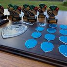 Trophies on a table, ready to give out to Stansted in Bloom winners, Stansted, Essex