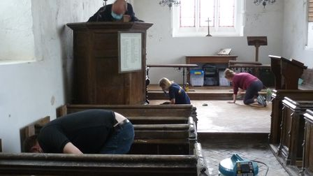 Volunteers from far and wide came to help after the Church of St Mary Magdalene in Caldecote was vandalised last week.