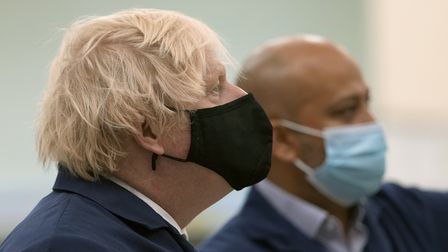 Prime Minister Boris Johnson (left) during a visit to the Airbus Defence and Space plant in Stevenag