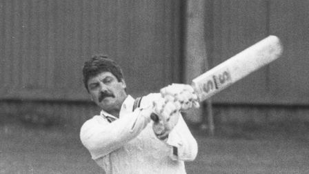 Barrie Matthews batting in the 80's at Paignton Cricket Club