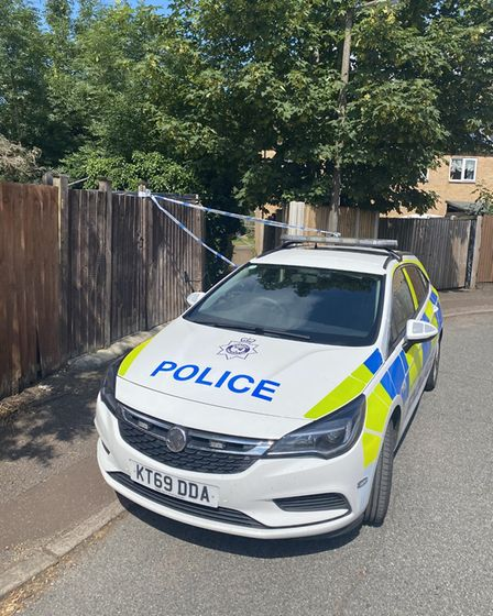 Police remain at the scene of a property in Middleton Crescent where the bodies of a brother and sister were found.