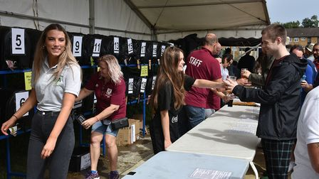 All smiles among the staff and punters at the returning Potters Bar Town FC Beer & Music Festival