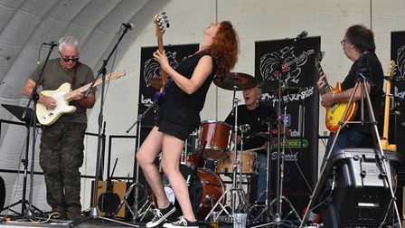 One of the bands at the Potters Bar Town FC Beer & Music Festival