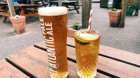 A pint of Atlantic Pale Ale and a Pimm's and lemonade.