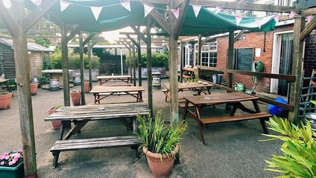 The beer garden at The Rose Tavern.