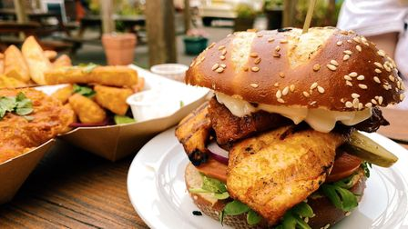 Chargrilled chicken and chorizo burger.