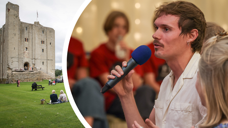 A montage - Left: Hedingham Castle in Essex; Right: An audience member at EA Festival speaks with presenters
