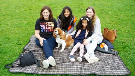 Jackie, Avaani, Milly and Caroline with their dog Dash at the Together We Stand event in Hitchin