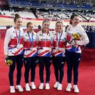 Great Britain's Katie Archibald, Laura Kenny, Neah Evans, Josie Knight and Elinor Barker with their