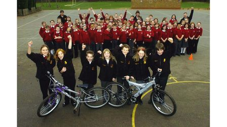 Pupils from Heath Primary School in Kesgrave in 2008, celebrating their success in a competition