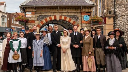 The Our Town cast at the Sheringham Town Clock