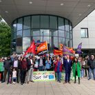 Protestors gathered outside Loxford Practice on Friday to protest NHS privatisation
