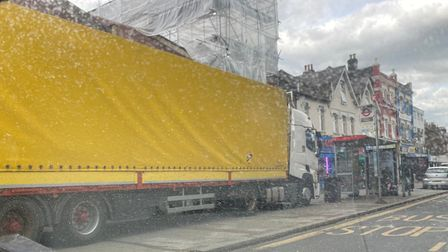 lorry parked on pavement