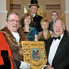 Mayor Cyril King presenting Borough Shield to Terry Gilbert, with Mayoress Sue King, Rose Gilbert, M