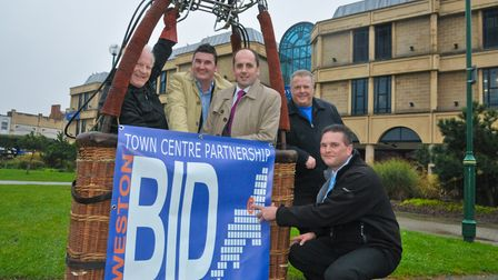 Launch of Weston BID with a hot air balloon launch to mark BID launch. Steve Townsend and other BID