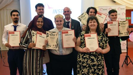 Steven Prentice, Youth Development Tutor, with a group of students who completed the Prince's Trust programme.