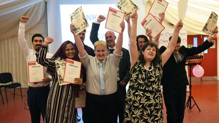The young people of Inspire Suffolk's Prince's Trust programme holding up their certificates