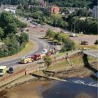Six fire crews have been sent out to help rescue a man stuck in mud in Ipswich