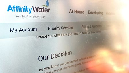 A photograph of a webpage - Affinity Water: Our decision.