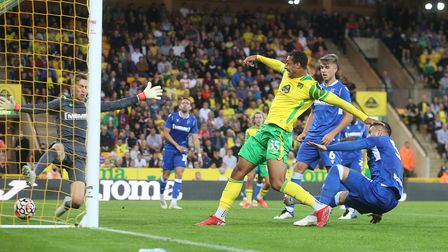 Adam Idah of Norwich scores his sides 2nd goal during the Pre-season friendly match at Carrow Road,