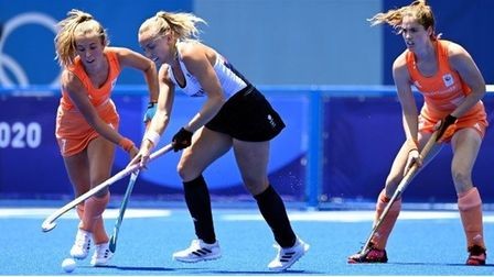 Great Britain's Hannah Martin on the ball against the Netherlands