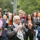 Mina Smallman, mother of Bibaa Henry and Nicole Smallman, speaks to the crowd at a vigil in Barn Hill Pond
