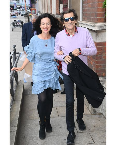LONDON, ENGLAND - AUGUST 03: Ronnie Wood and Sally Wood arrive to open the music studios at Communit