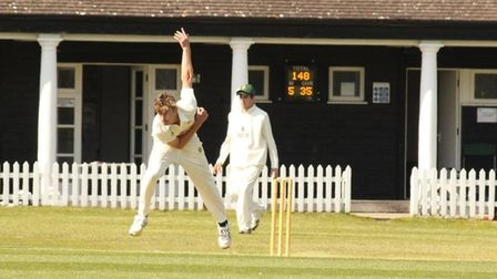 Callum Henderson bowling for Preston against Dunstable in the Herts Cricket League