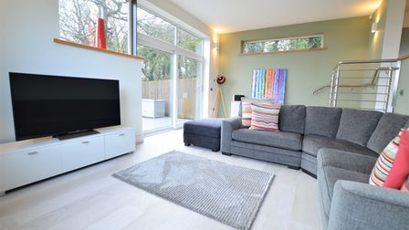 living room with light wooden flooring, grey rug and sofas, low TV unit with TV built into a shelving wall, patio doors